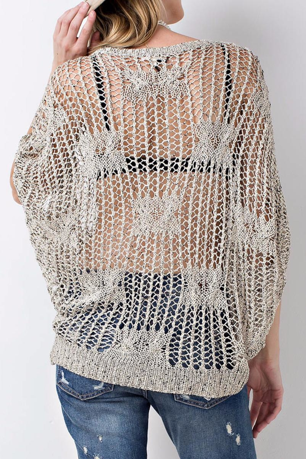 People Outfitter Crochet Knit Sweater Top - Front Full Image