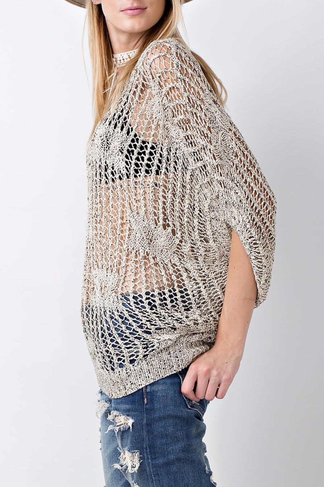 People Outfitter Crochet Knit Sweater Top - Side Cropped Image