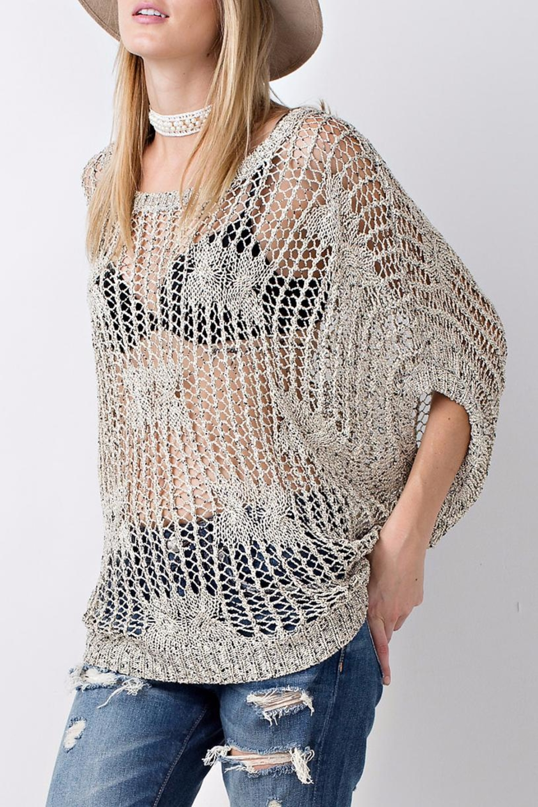 People Outfitter Crochet Knit Sweater Top - Back Cropped Image