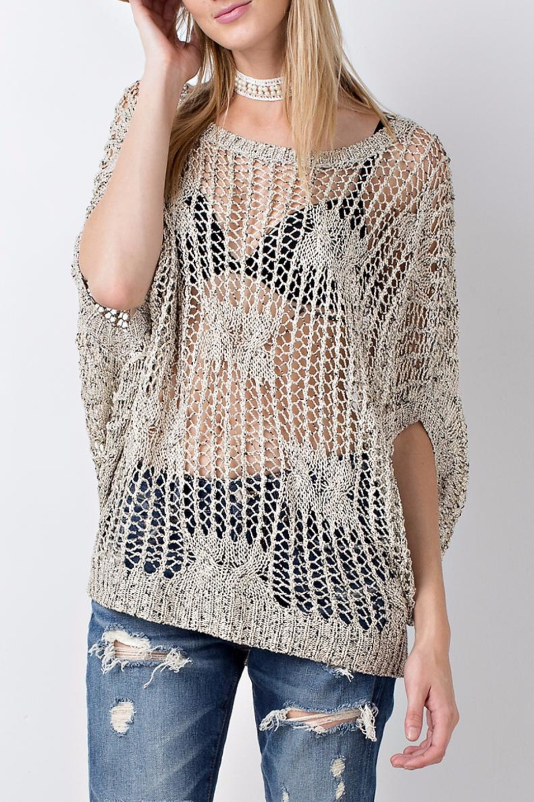 People Outfitter Crochet Knit Sweater Top - Main Image