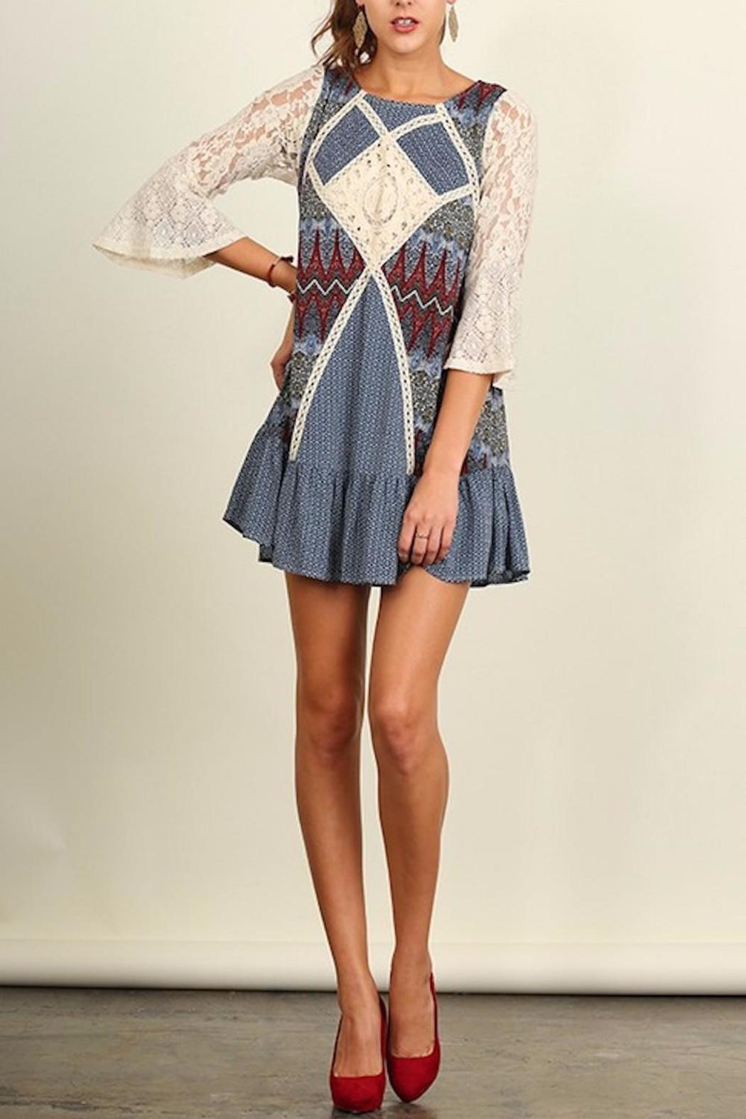 People Outfitter Crochet Patch Dress - Front Full Image