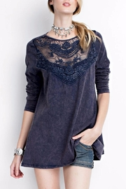 People Outfitter Crochet Washed Sweatshirt - Front full body