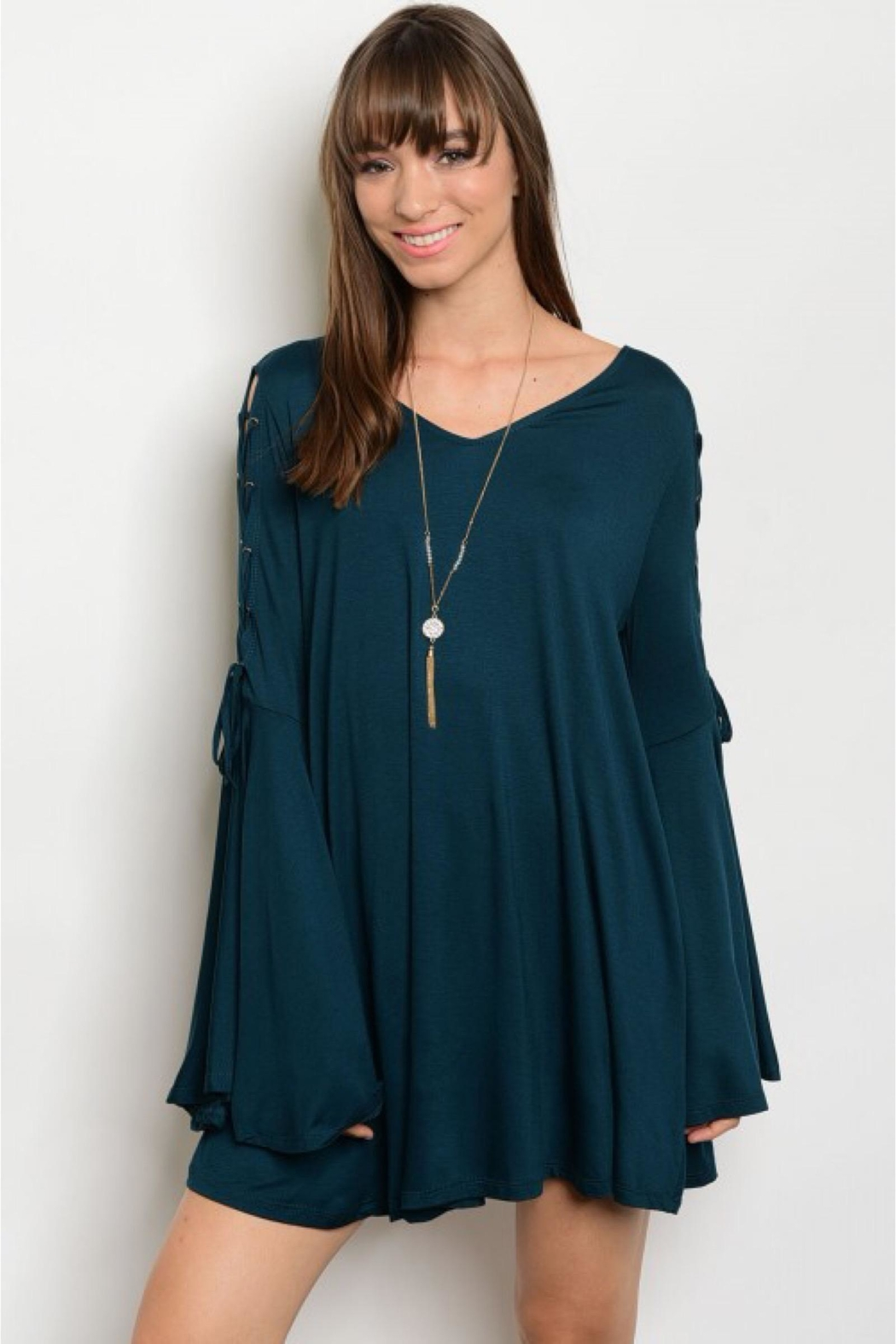 People Outfitter Dark Green Bell Sleeve Tunic- Dress - Main Image