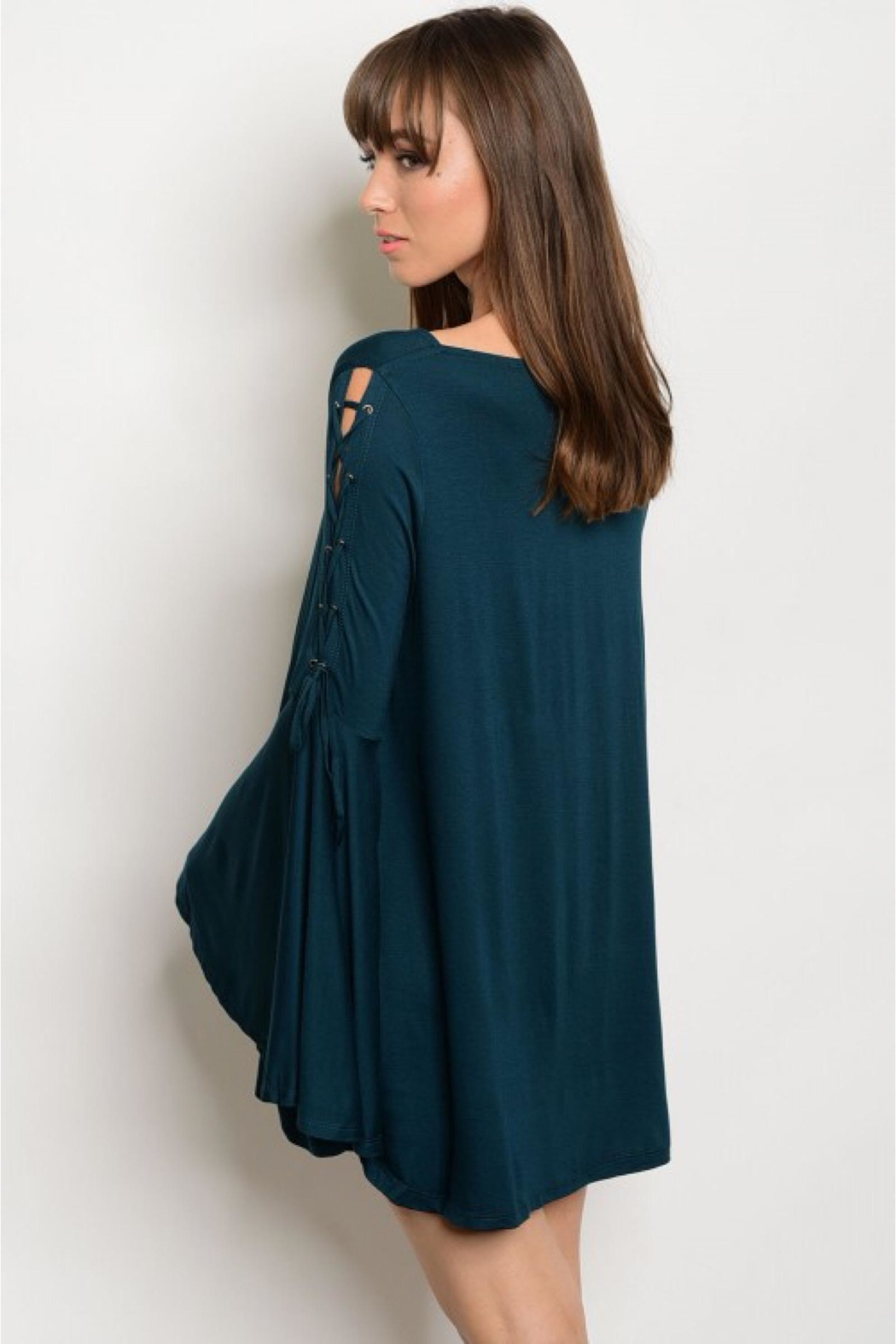People Outfitter Dark Green Bell Sleeve Tunic- Dress - Front Full Image