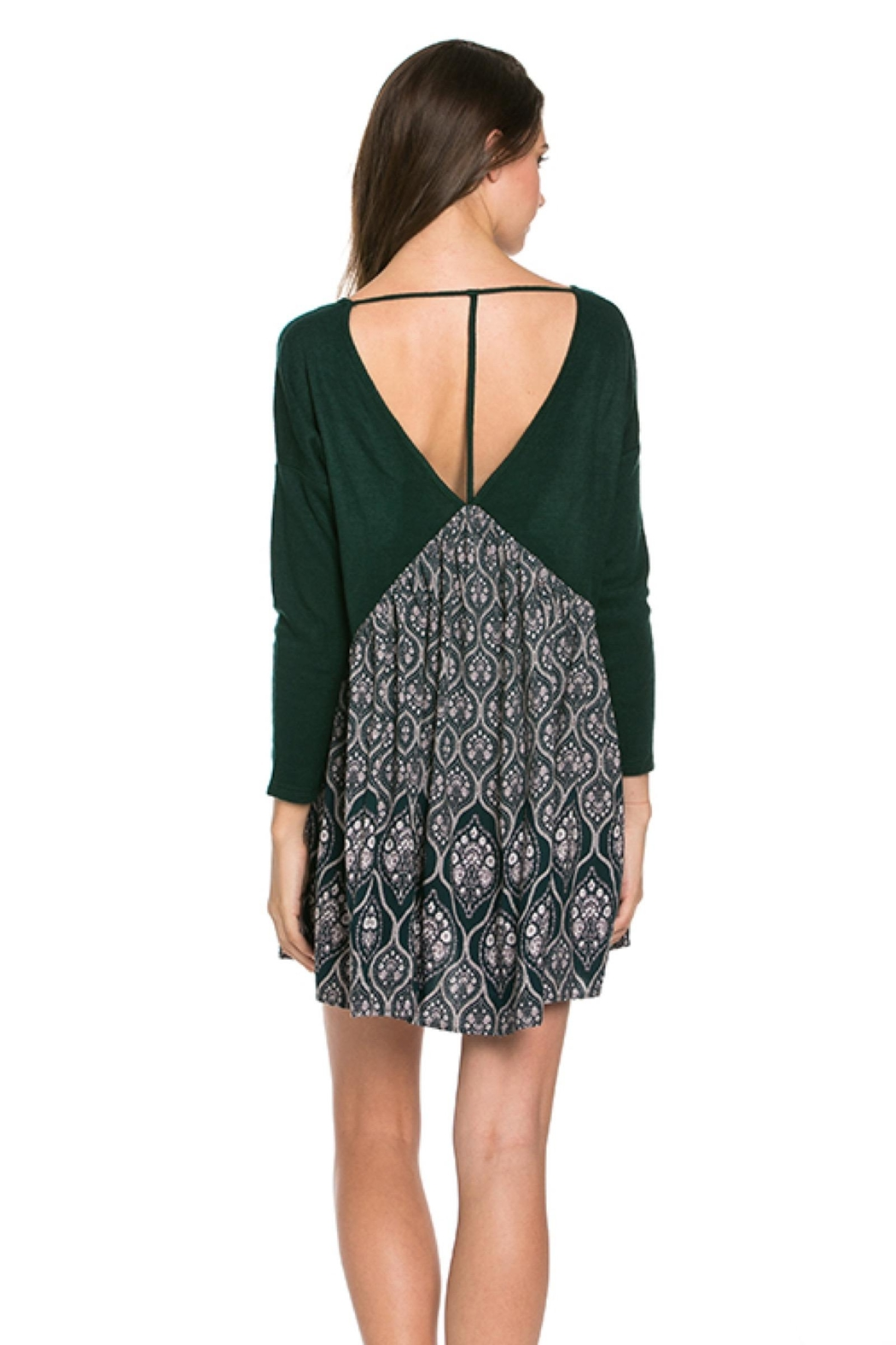 People Outfitter Dark Green Tunic Dress - Front Full Image