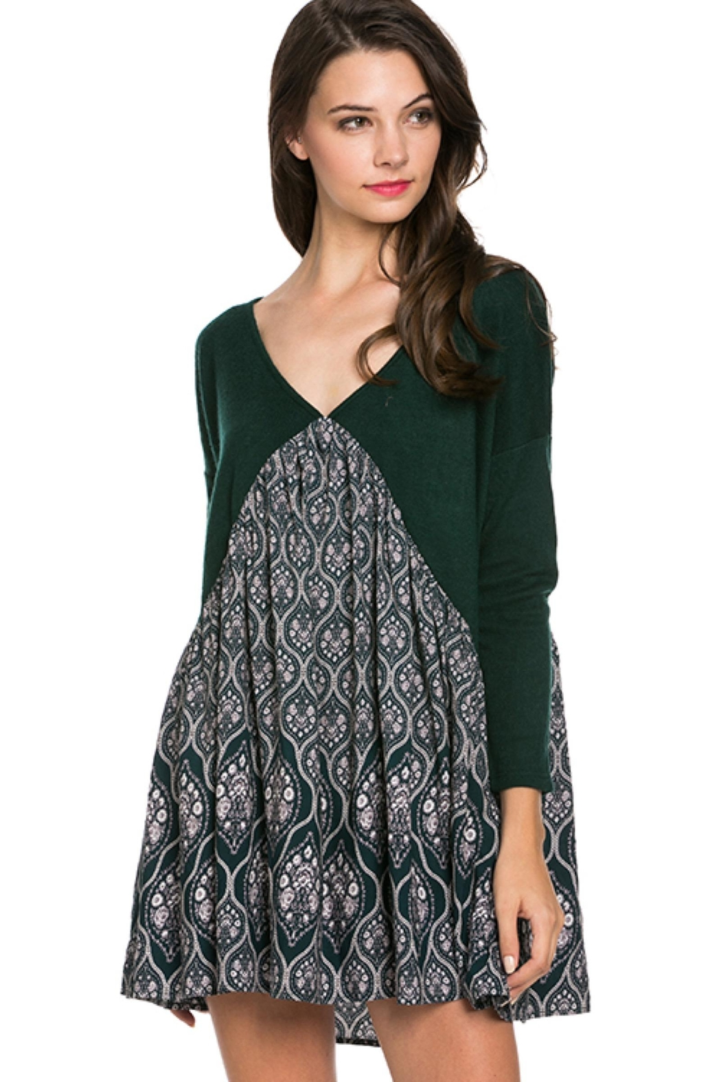 People Outfitter Dark Green Tunic Dress - Main Image