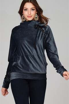 People Outfitter Dark Steel  Velvet Turtleneck Sweatshirt - Product List Image