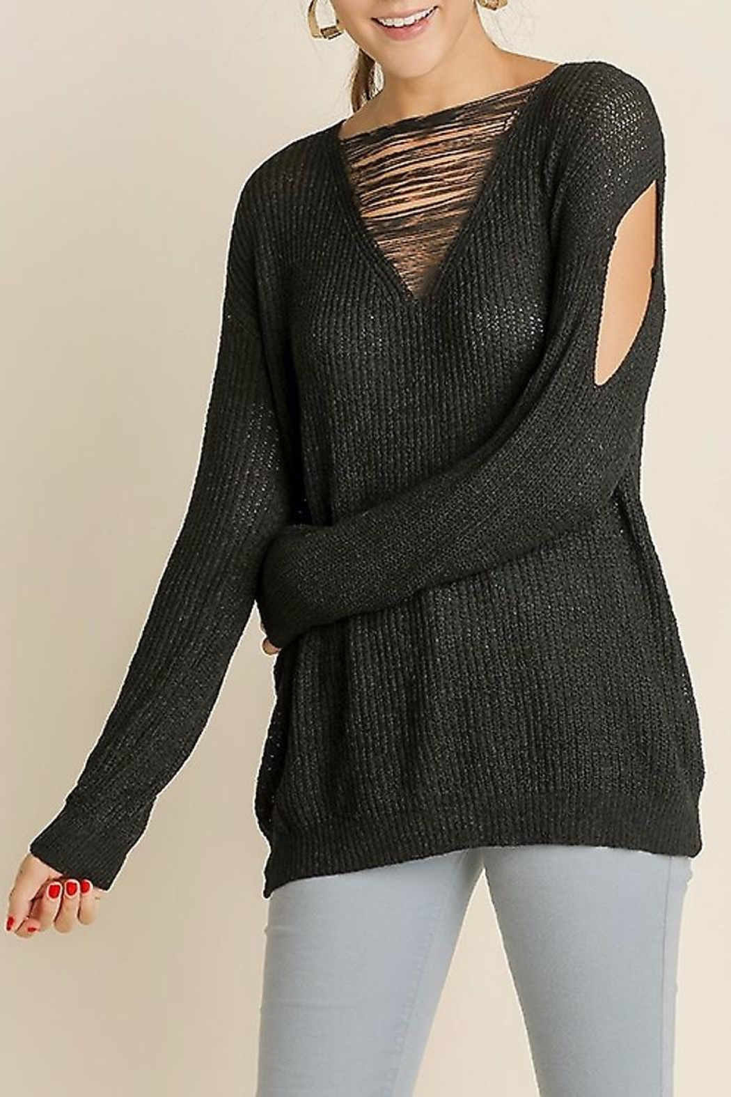 People Outfitter Distressed Knit Sweater - Front Cropped Image