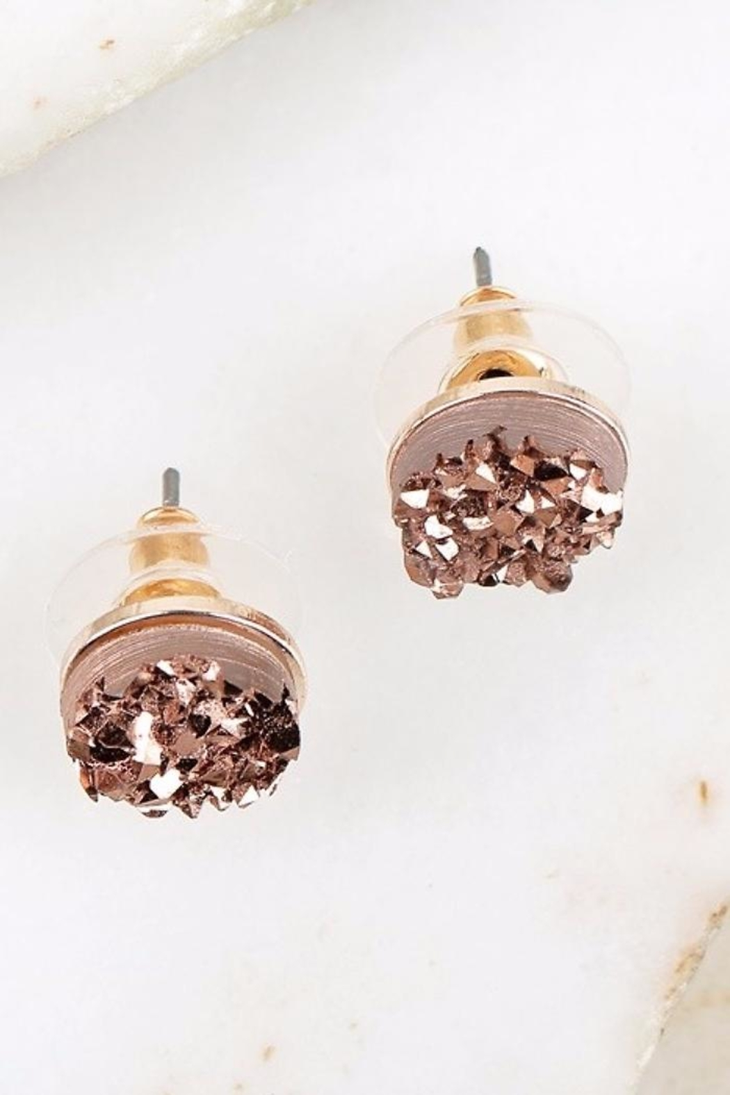 People Outfitter Druzy Rose-Gold Earrings - Front Full Image