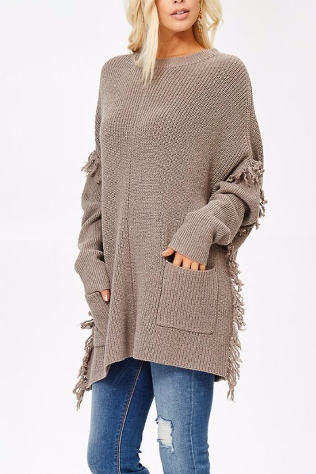 People Outfitter Ella's Long Sweater - Front Full Image