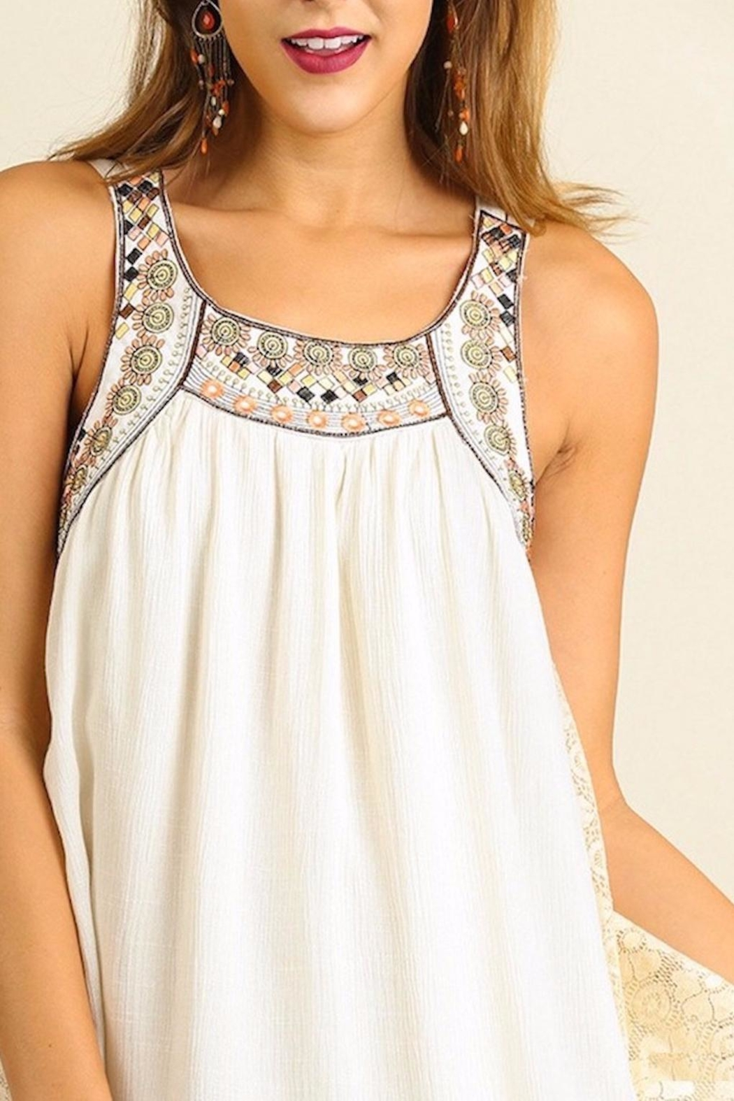 People Outfitter Embellished Natural  Dress - Back Cropped Image
