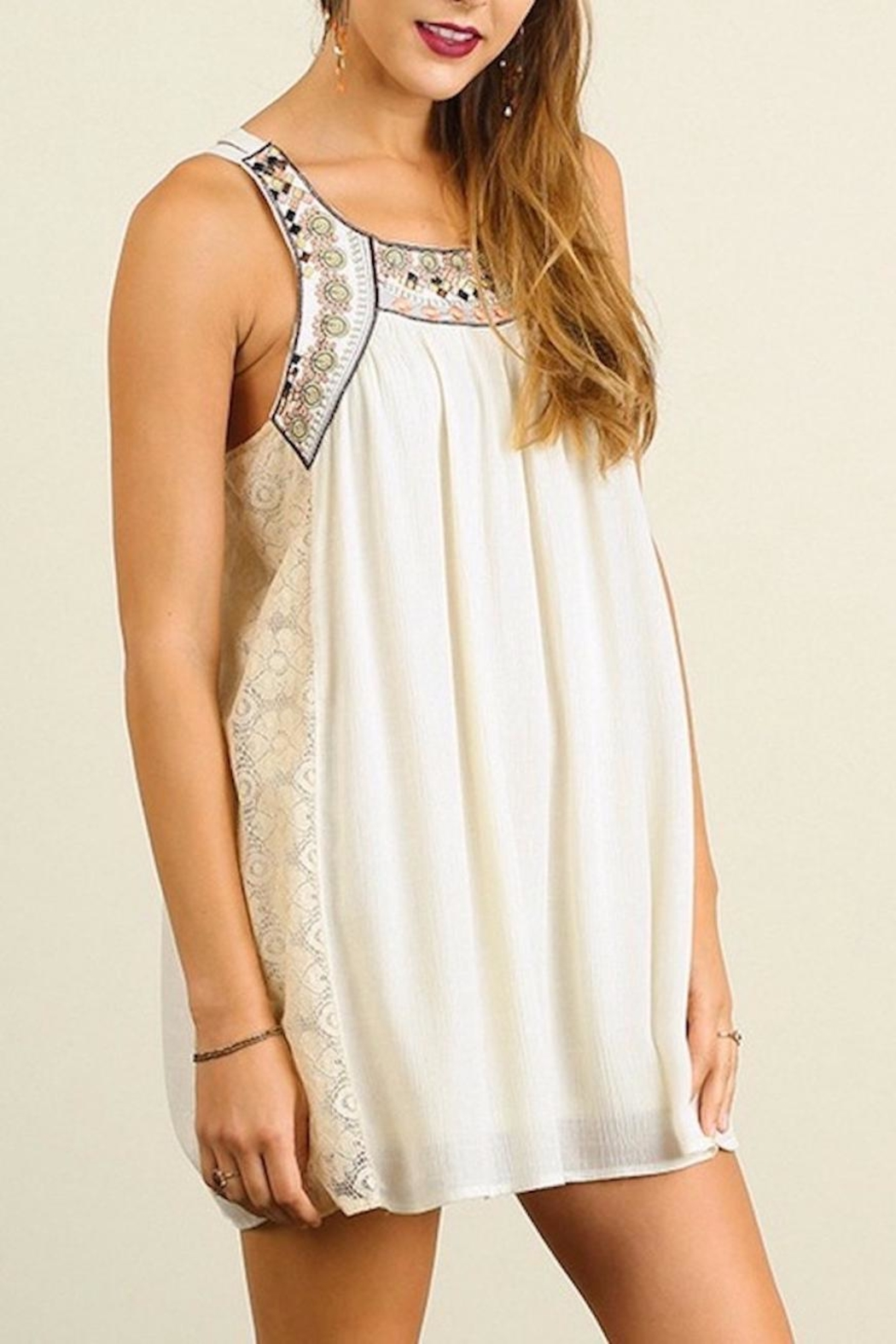 People Outfitter Embellished Natural  Dress - Front Full Image