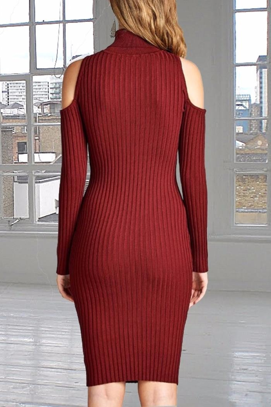 People Outfitter Rib Fitted Dress - Front Full Image