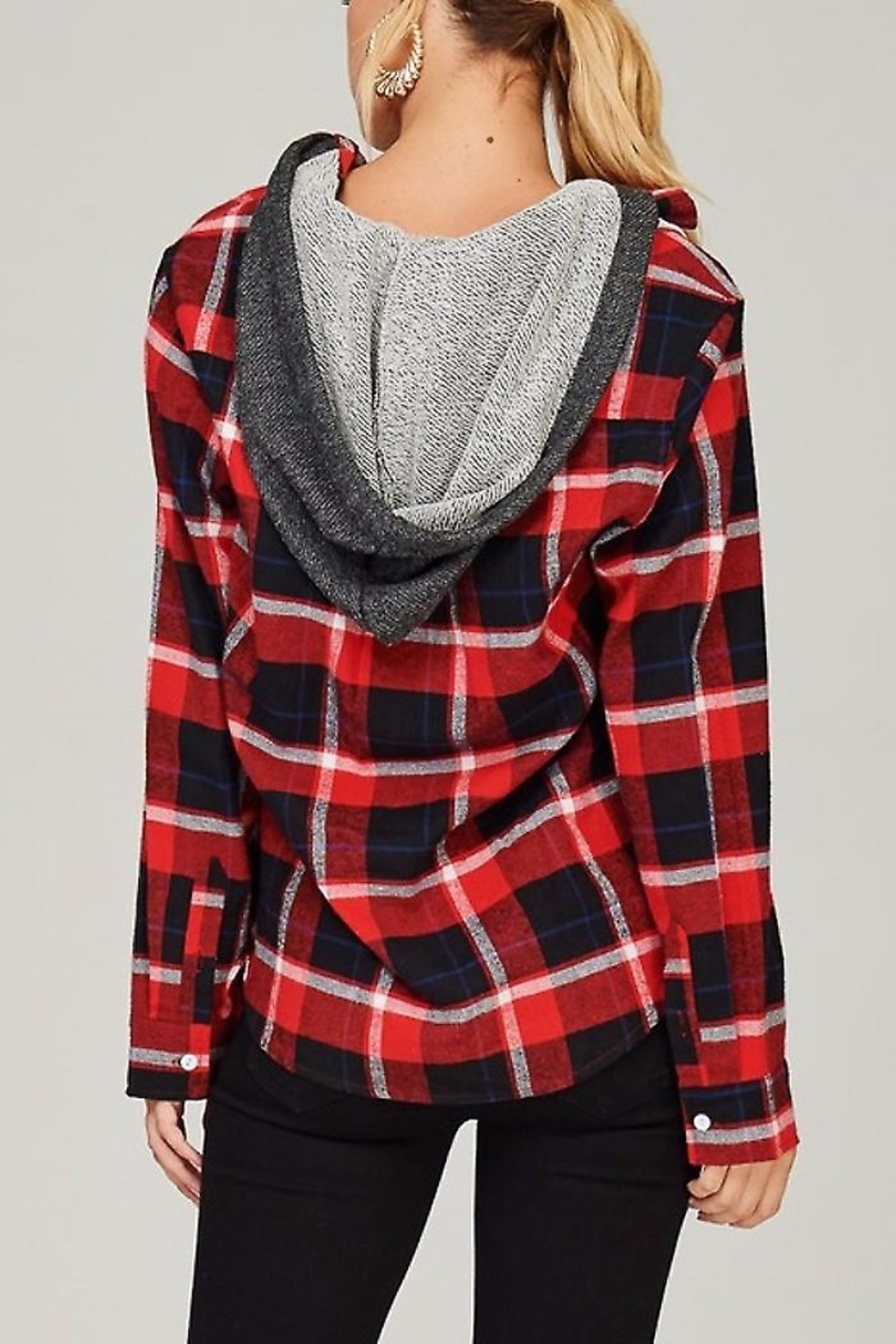 People Outfitter Flannel Hoodie Sweater - Side Cropped Image