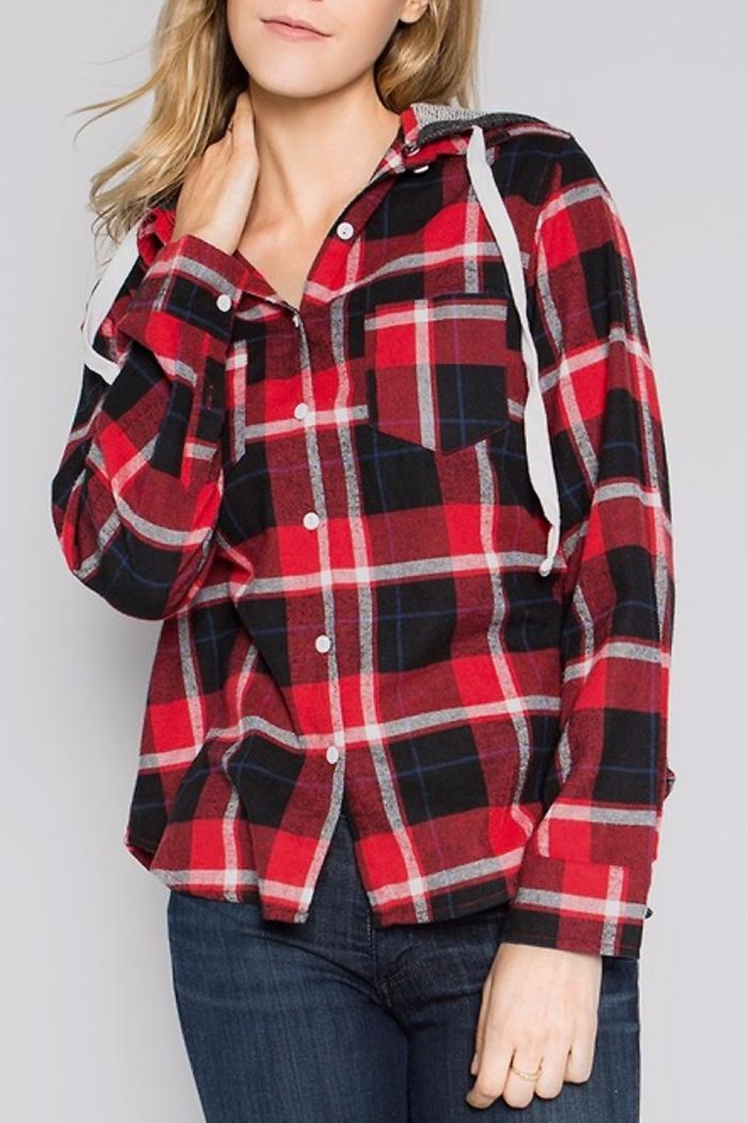 People Outfitter Flannel Hoodie Sweater - Main Image