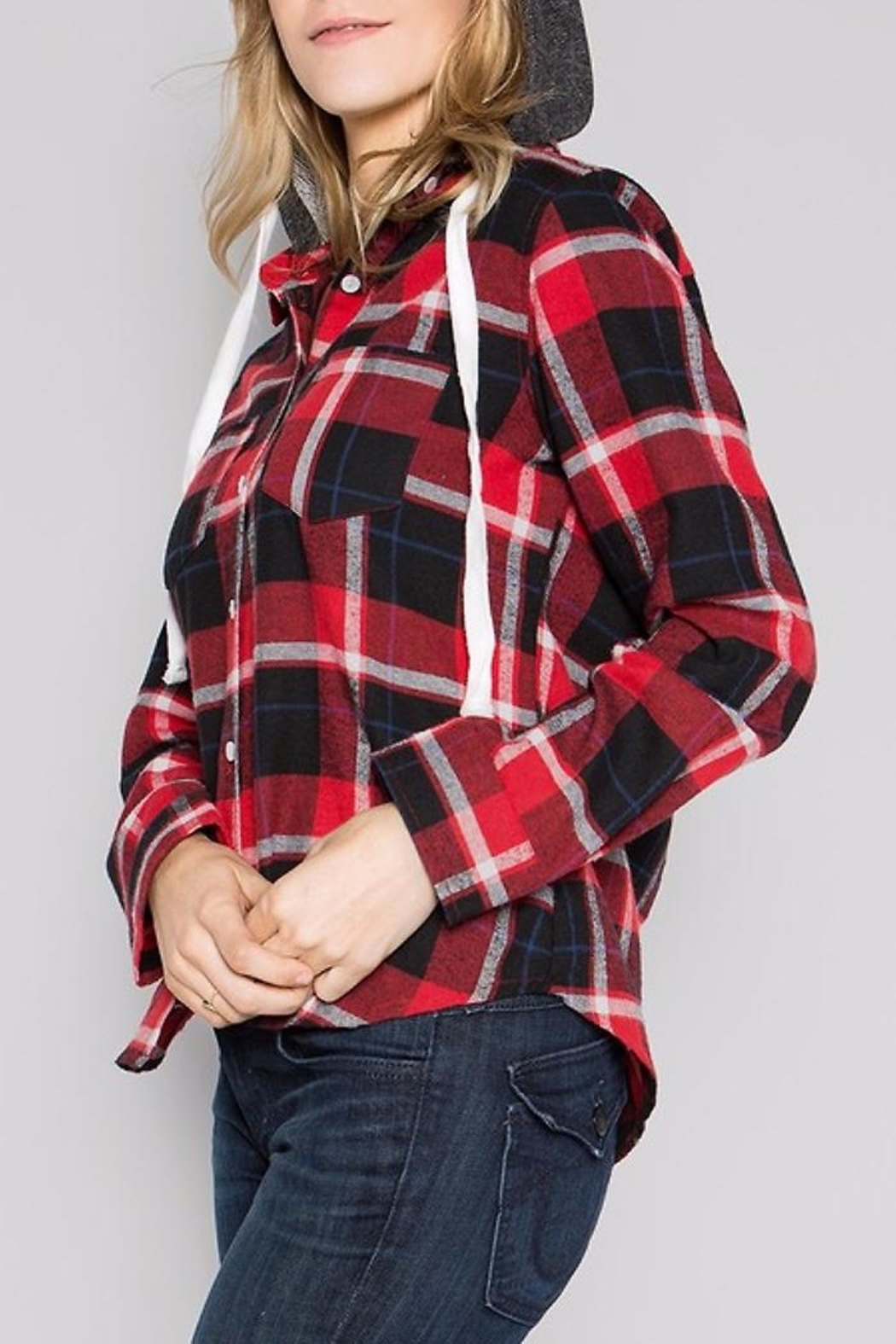 People Outfitter Flannel Hoodie Sweater - Front Full Image