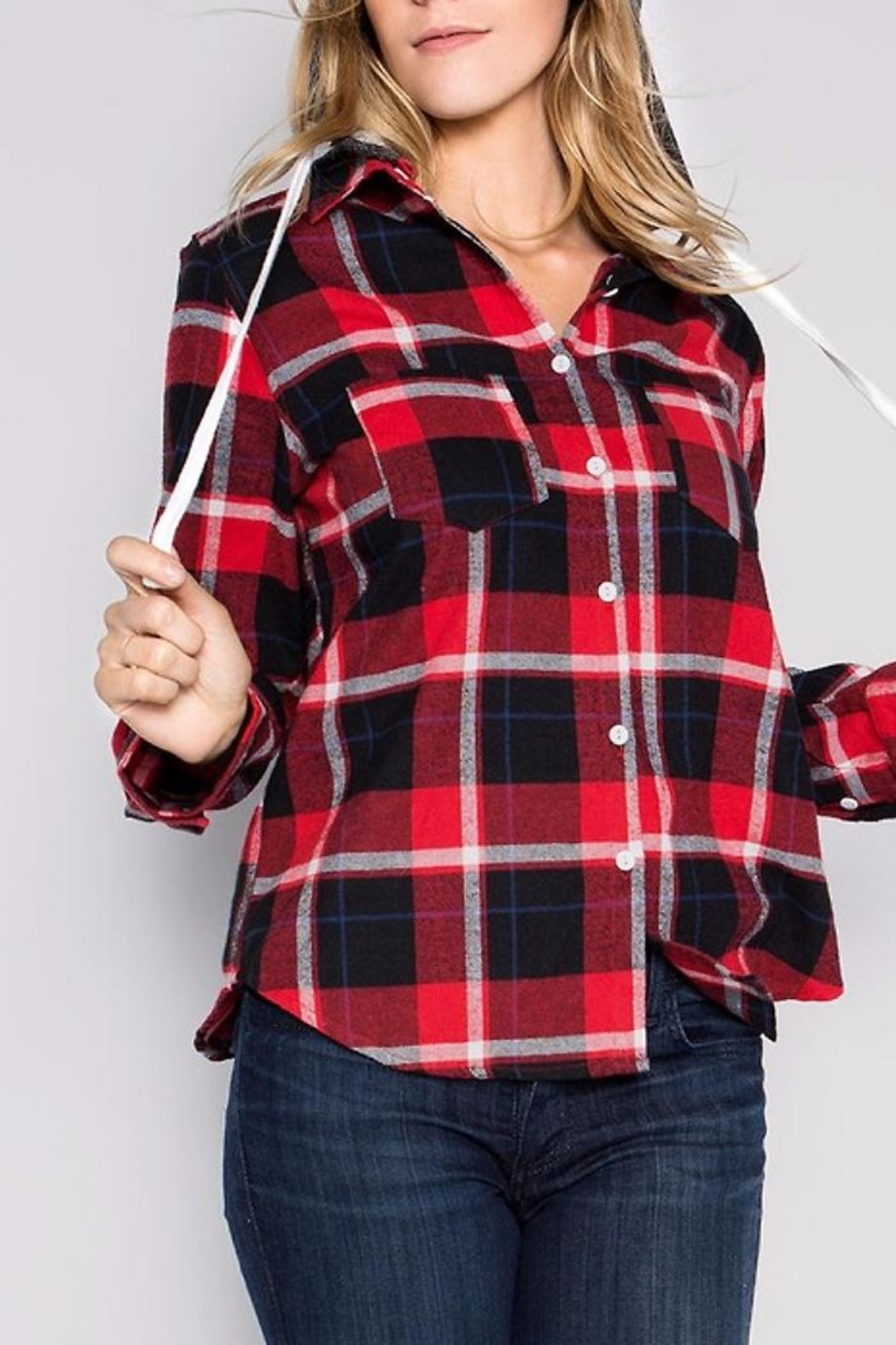 People Outfitter Flannel Hoodie Sweater - Back Cropped Image