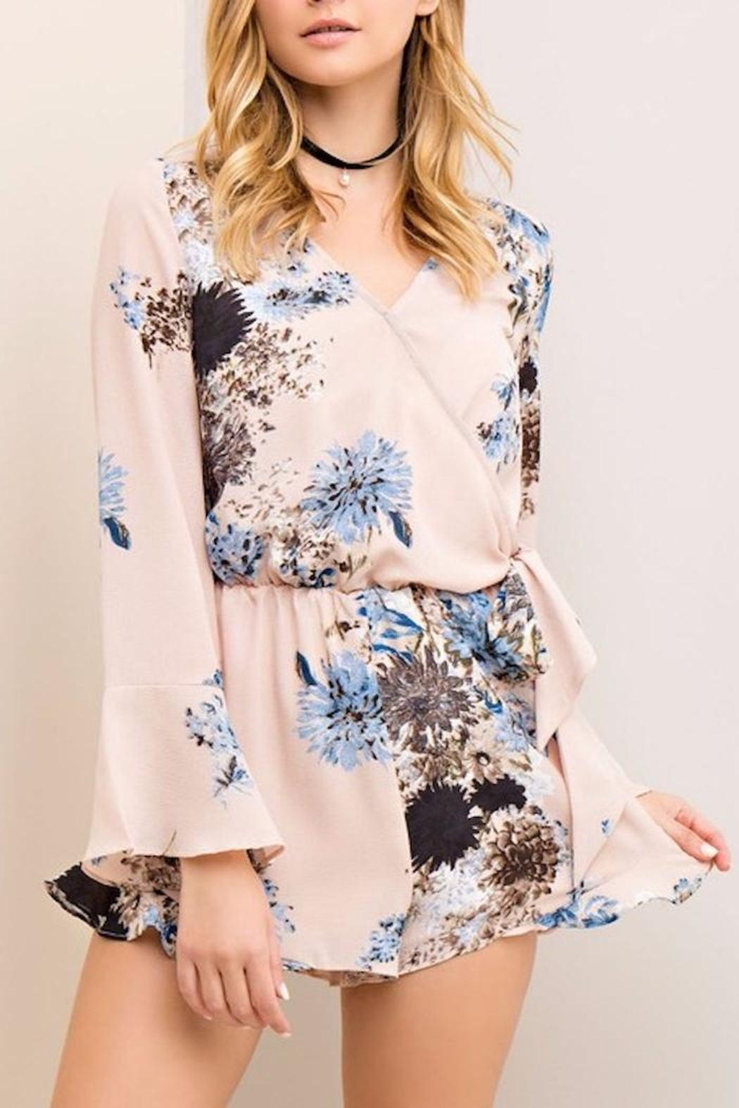 People Outfitter Flower Wrapped Romper - Main Image