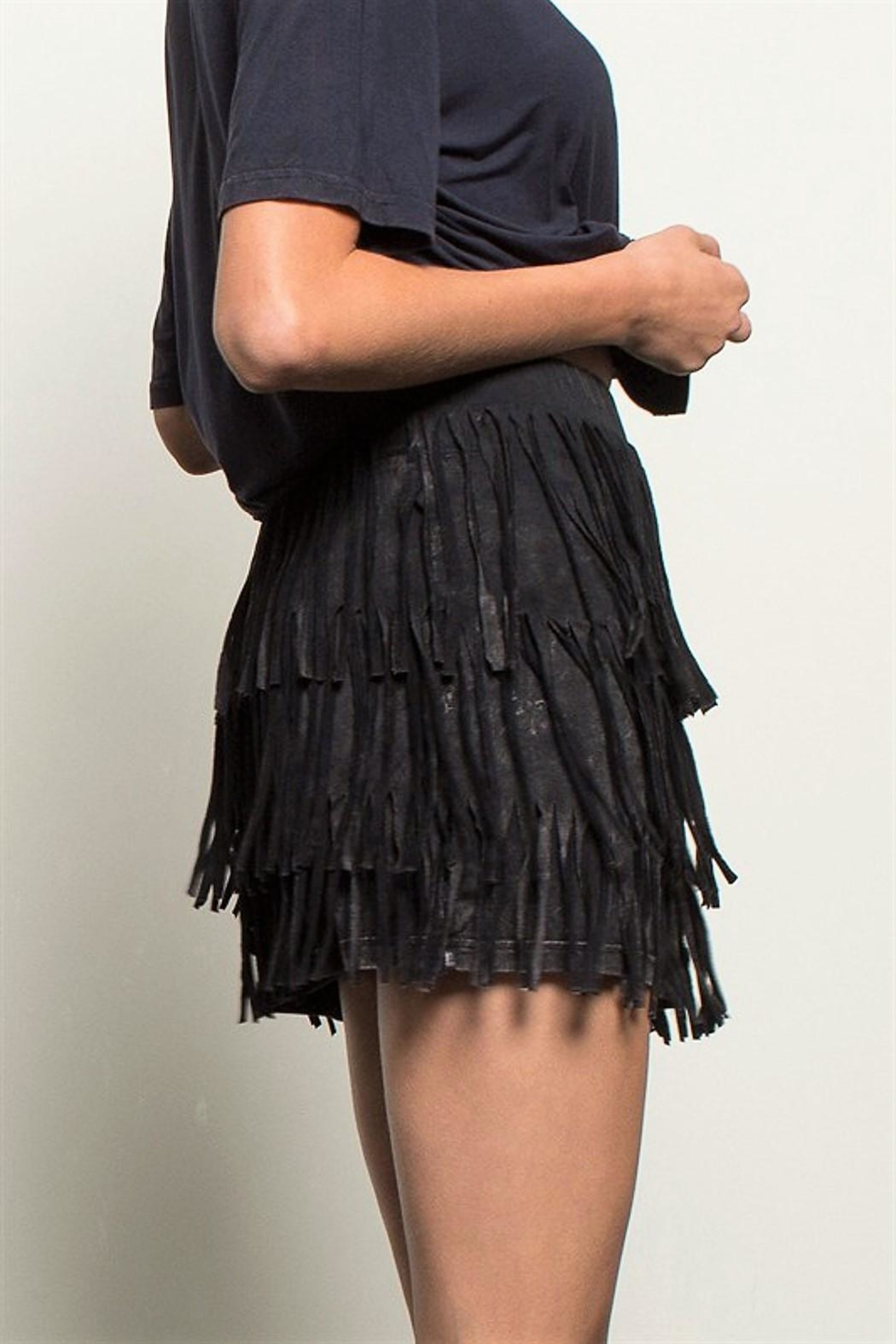 People Outfitter Fringe Stone Wash Skirt - Front Cropped Image