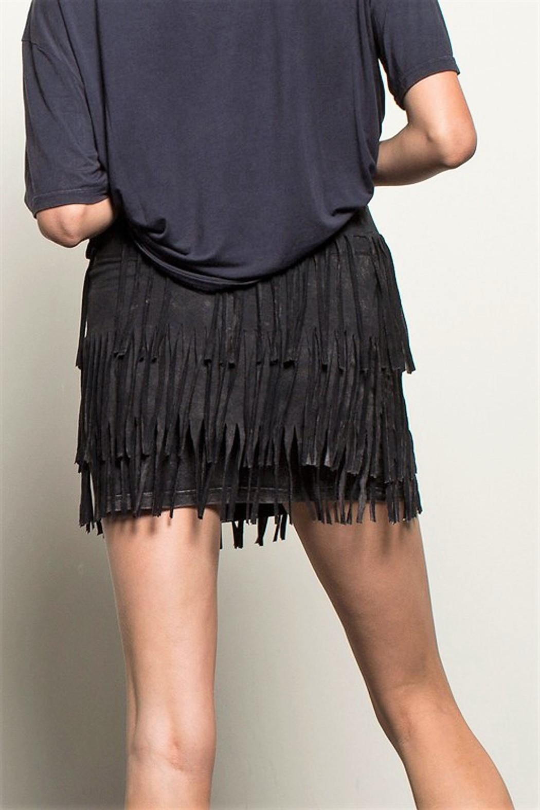 People Outfitter Fringe Stone Wash Skirt - Front Full Image