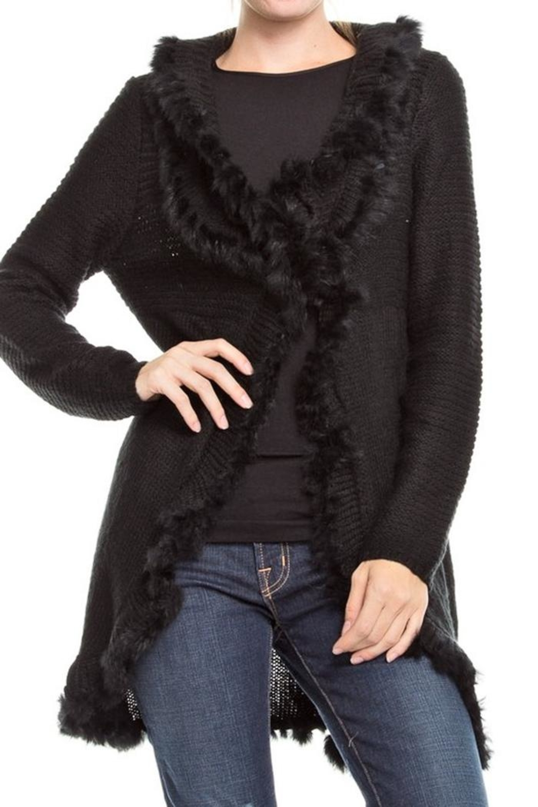 People Outfitter Fur Trim Cardigan - Main Image