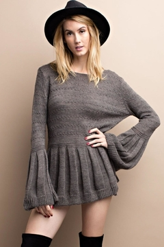 People Outfitter Grey Bell Sleeve Sweater - Product List Image