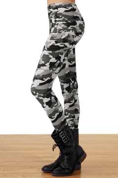 People Outfitter Grey Camouflage Leggings - Alternate List Image