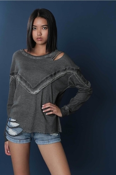 People Outfitter Grey Cut Out Sweatshirt - Product List Image