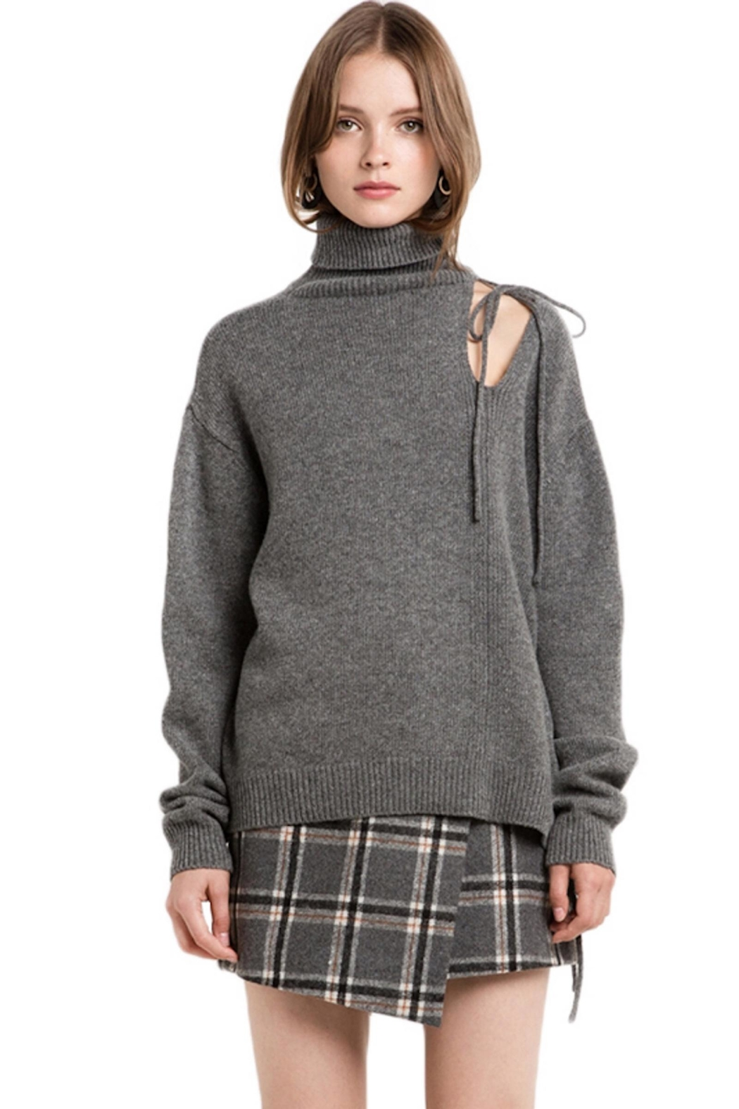 People Outfitter Grey Cut Out Turtleneck Sweater - Main Image