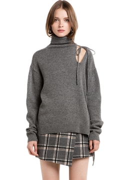 People Outfitter Grey Cut Out Turtleneck Sweater - Product List Image