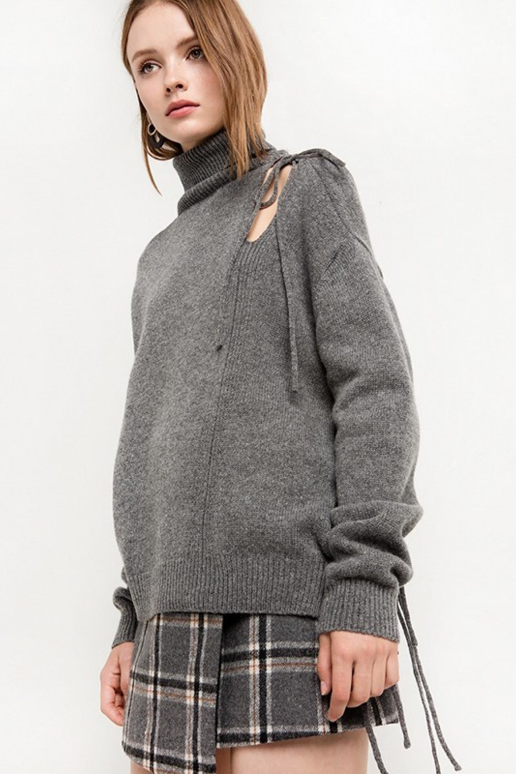 People Outfitter Grey Cut Out Turtleneck Sweater - Front Full Image