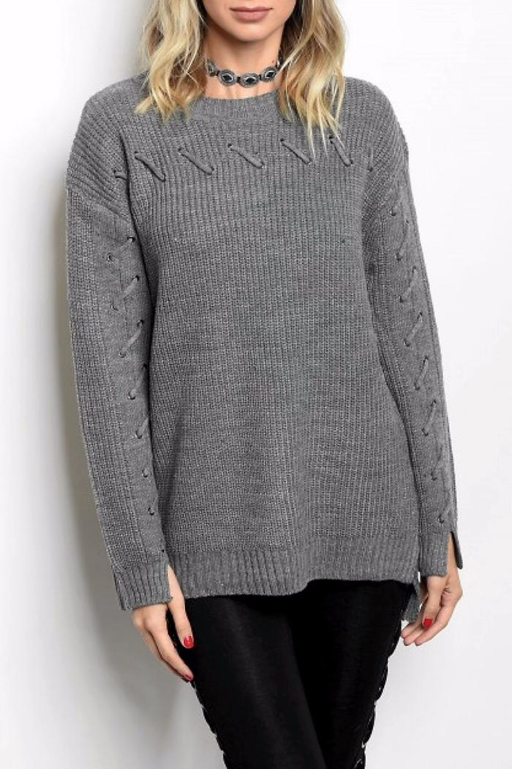 People Outfitter Grey Lace-Up Sweater - Main Image