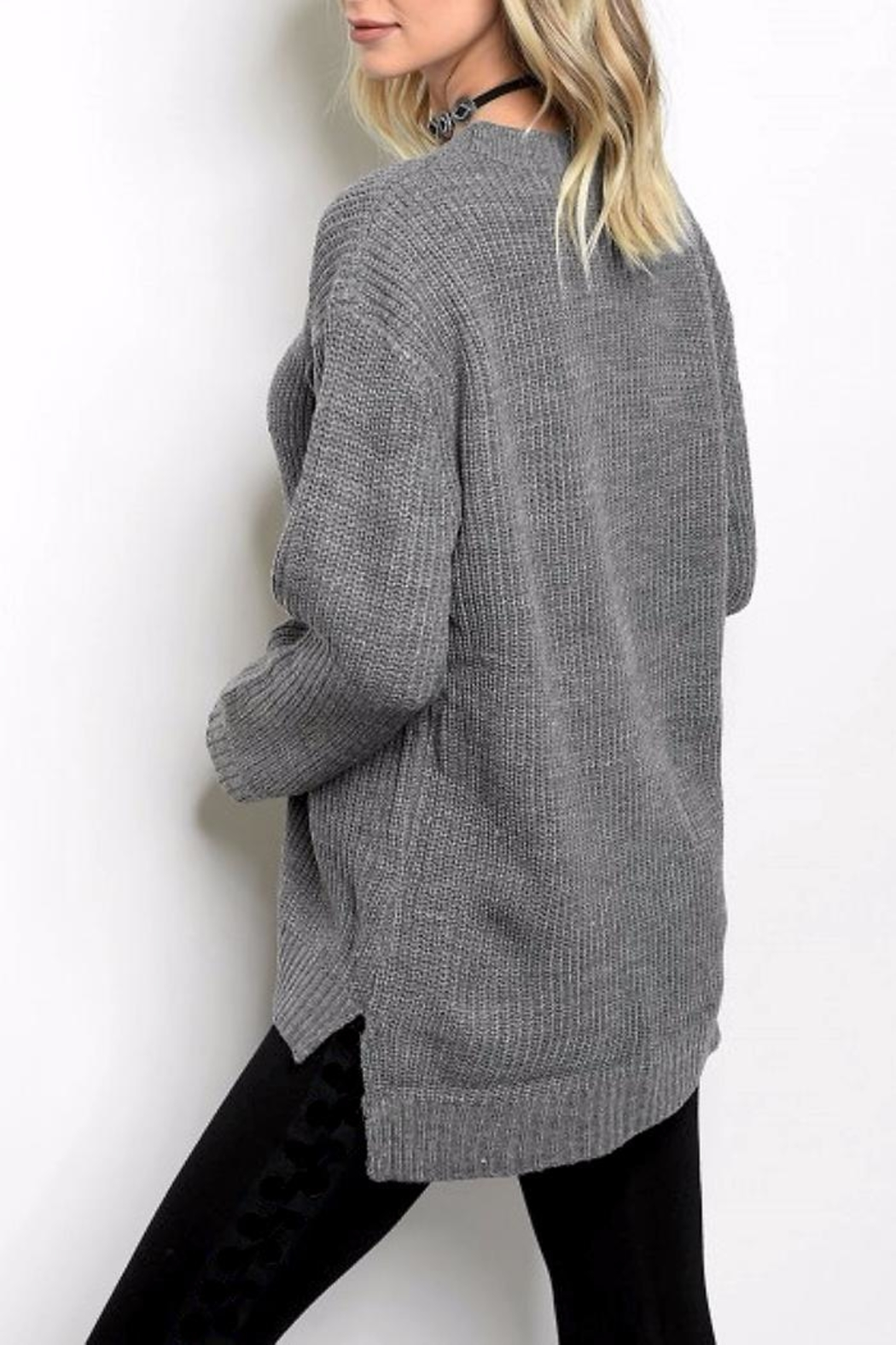 People Outfitter Grey Lace-Up Sweater - Front Full Image