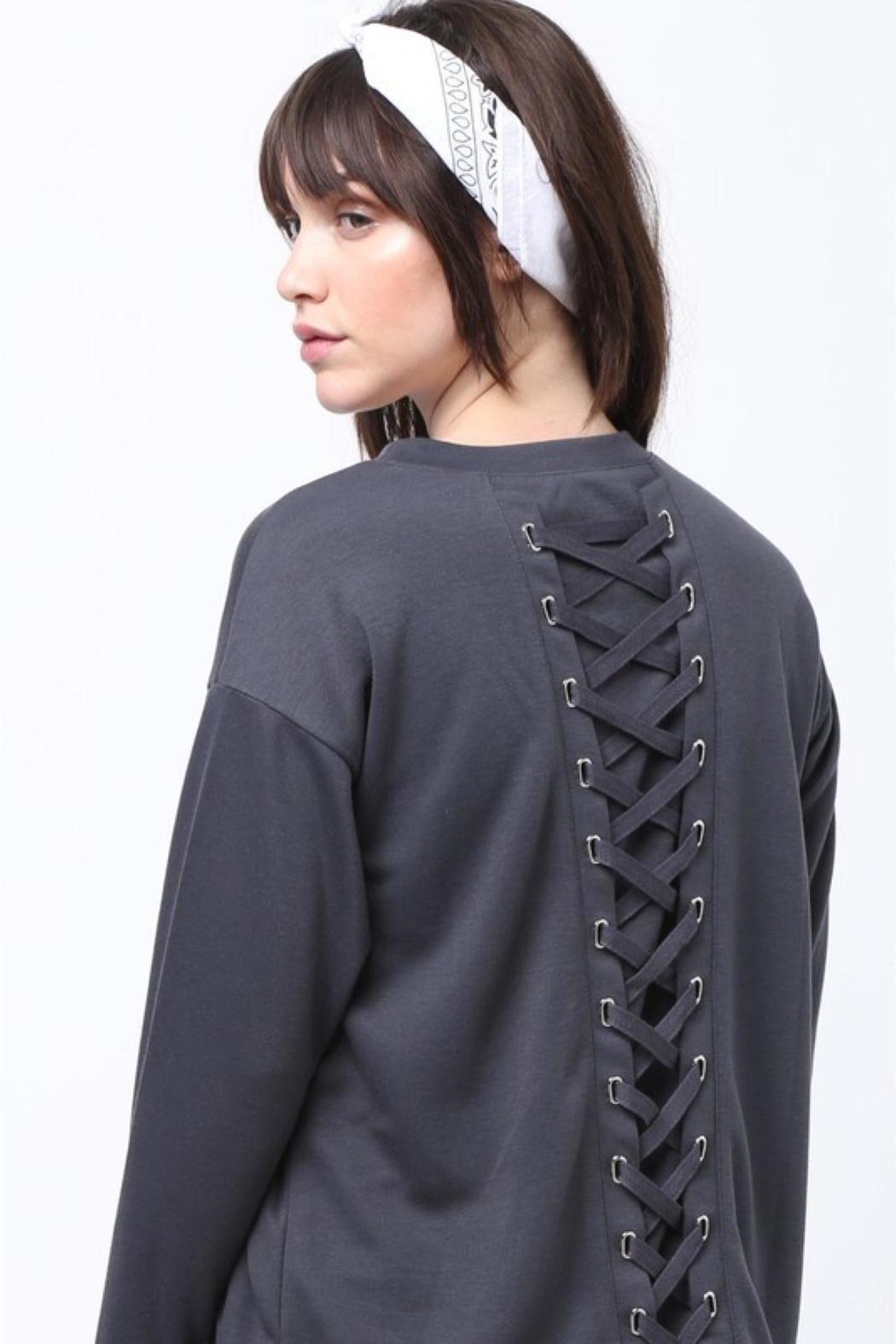 People Outfitter Grey Lace-Up Sweatshirt - Main Image