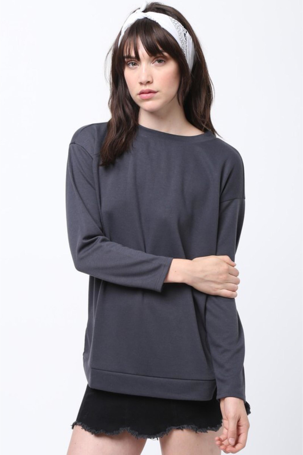 People Outfitter Grey Lace-Up Sweatshirt - Side Cropped Image