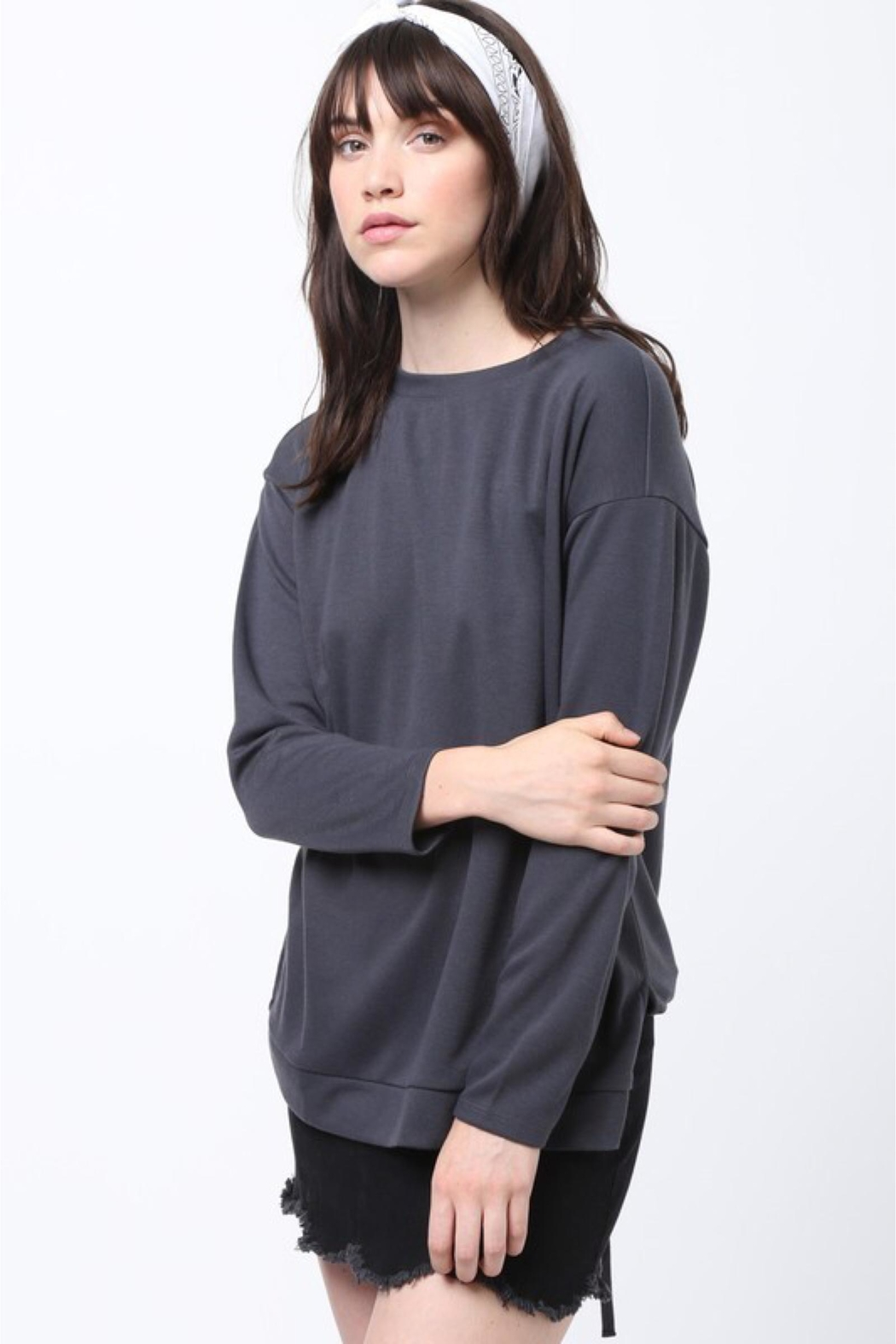People Outfitter Grey Lace-Up Sweatshirt - Front Full Image