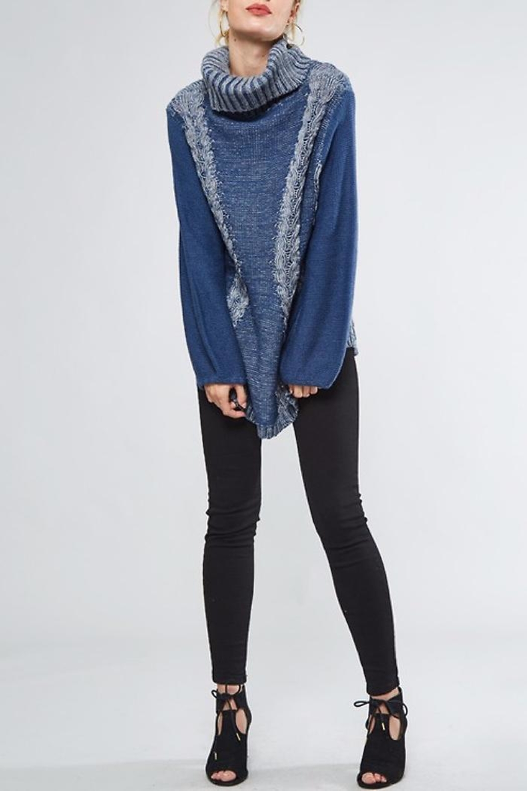 People Outfitter Heartened Blue Sweater - Front Full Image