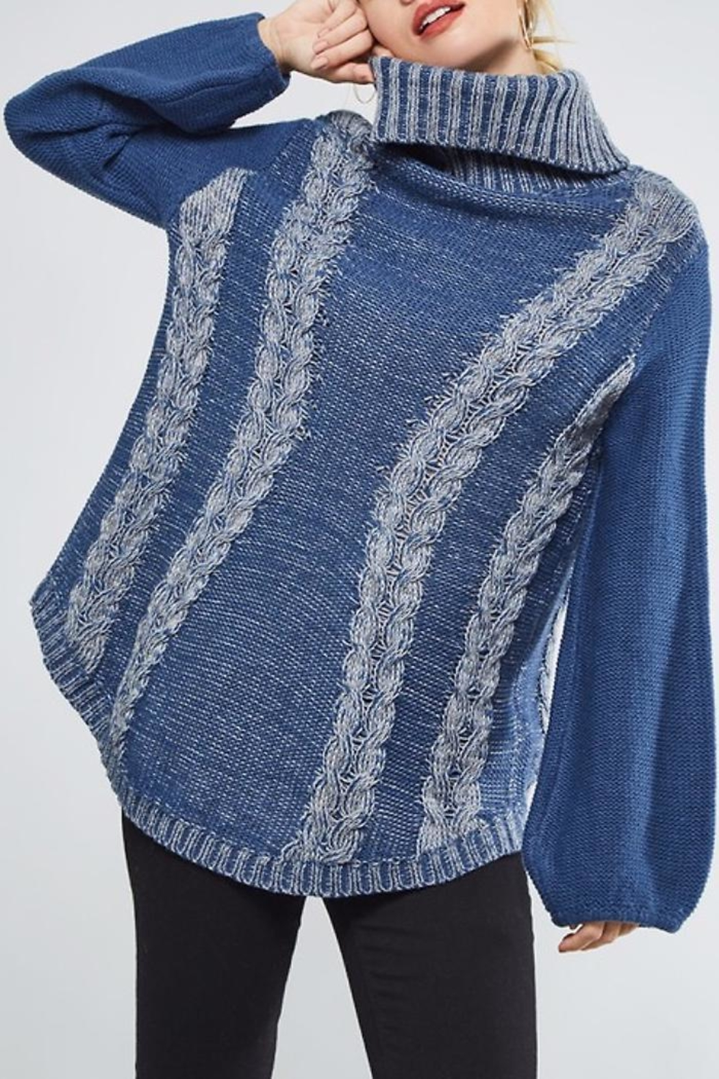People Outfitter Heartened Blue Sweater - Back Cropped Image