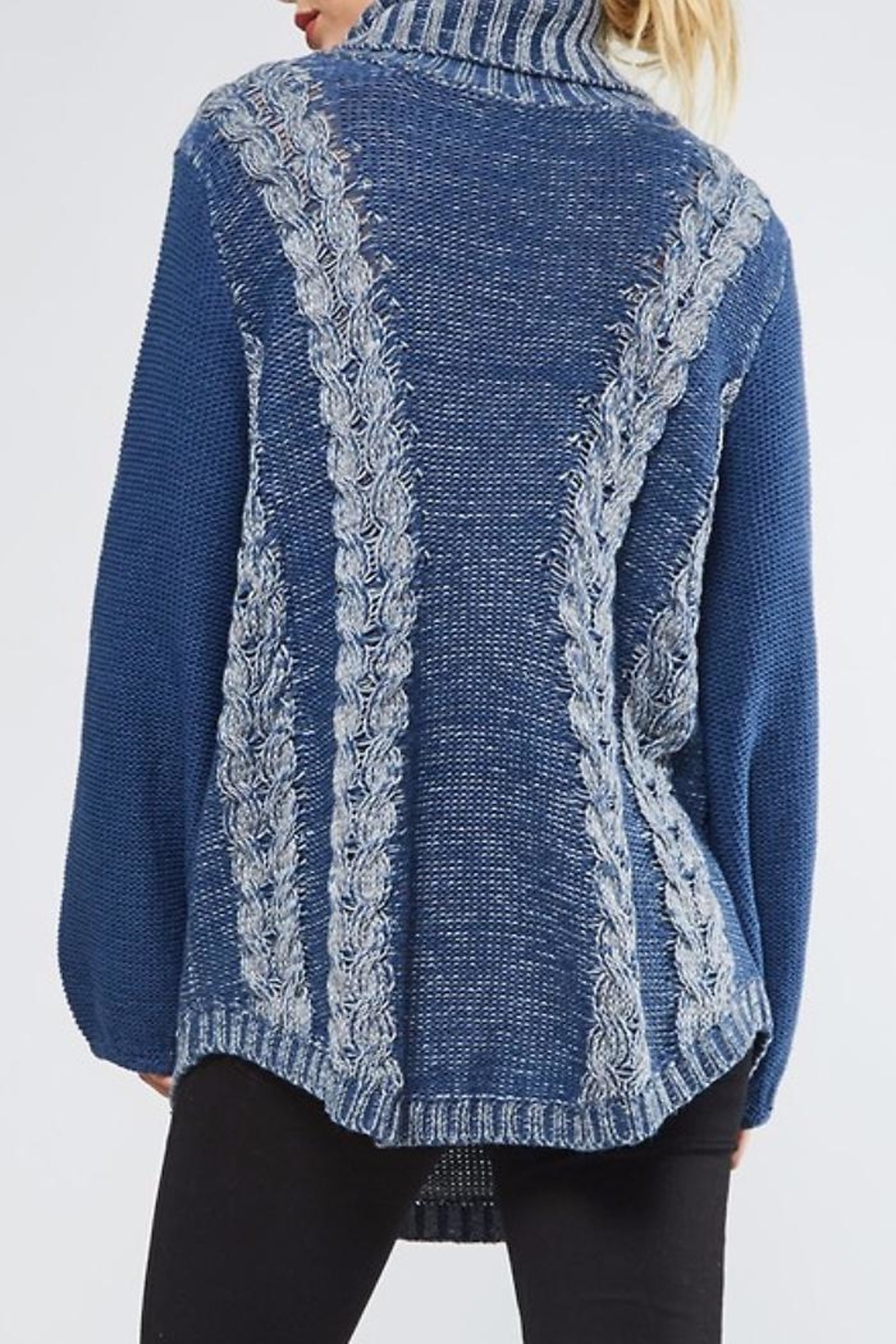 People Outfitter Heartened Blue Sweater - Side Cropped Image