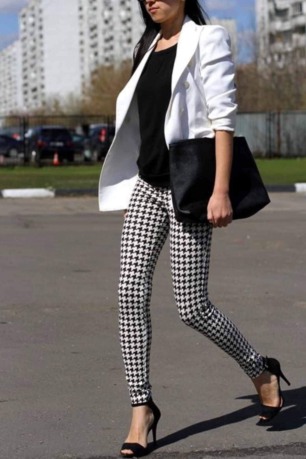 People Outfitter Houndstooth Leggings - Front Full Image