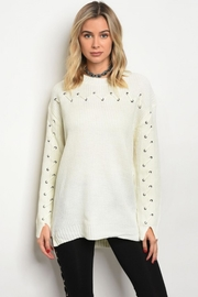 People Outfitter Ivory  Lace Up Sweater - Product Mini Image
