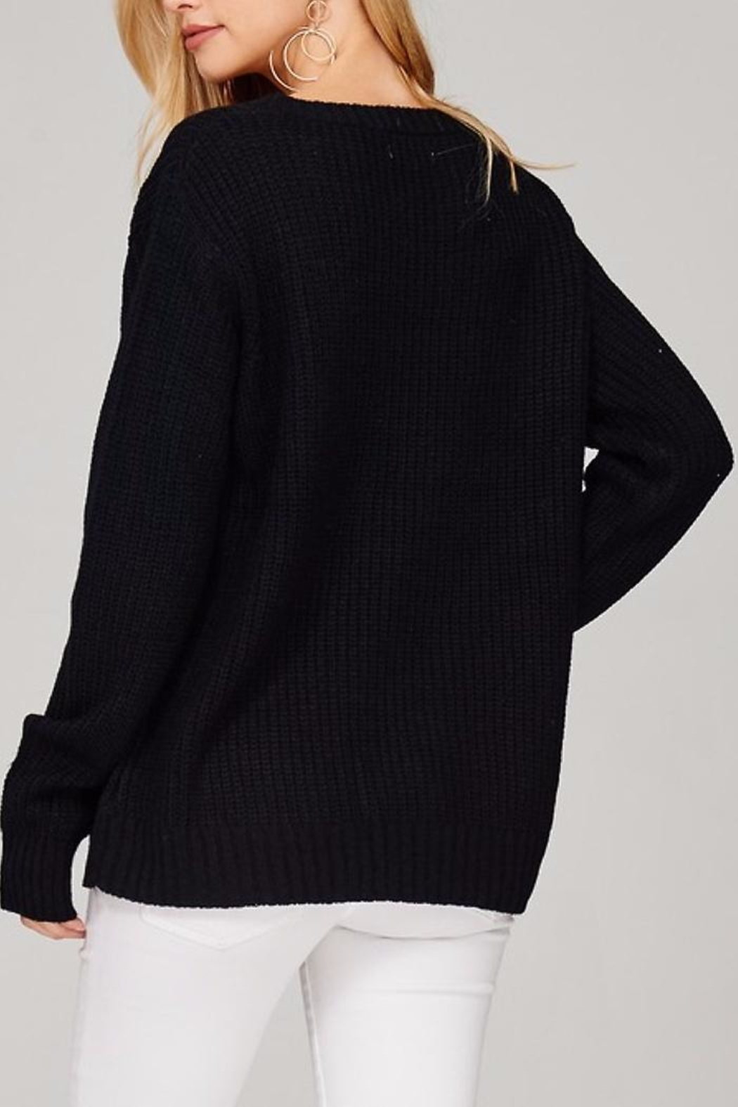 People Outfitter Kaylee's Floral Sweater - Side Cropped Image