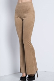People Outfitter Khaki Microsuede Flare Pants - Product Mini Image