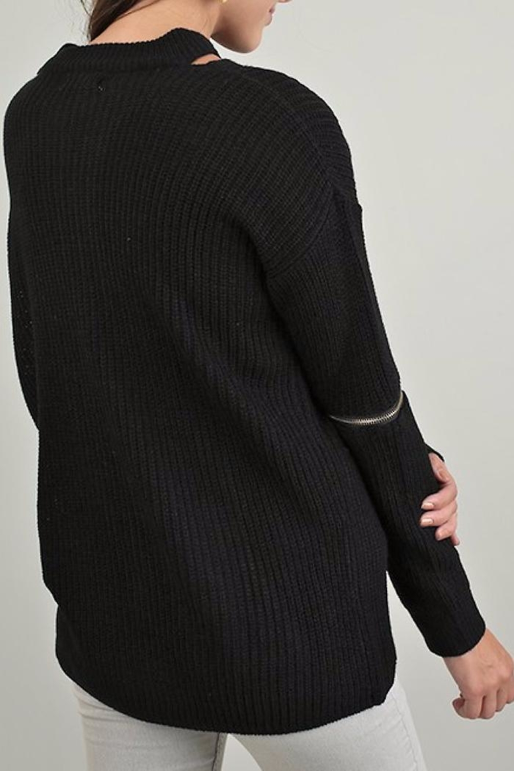 People Outfitter Knit Zipper Sweater - Front Full Image