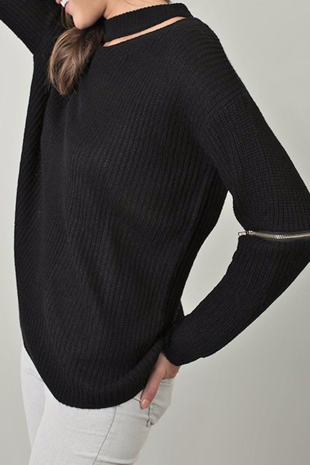 People Outfitter Knit Zipper Sweater - Side Cropped Image