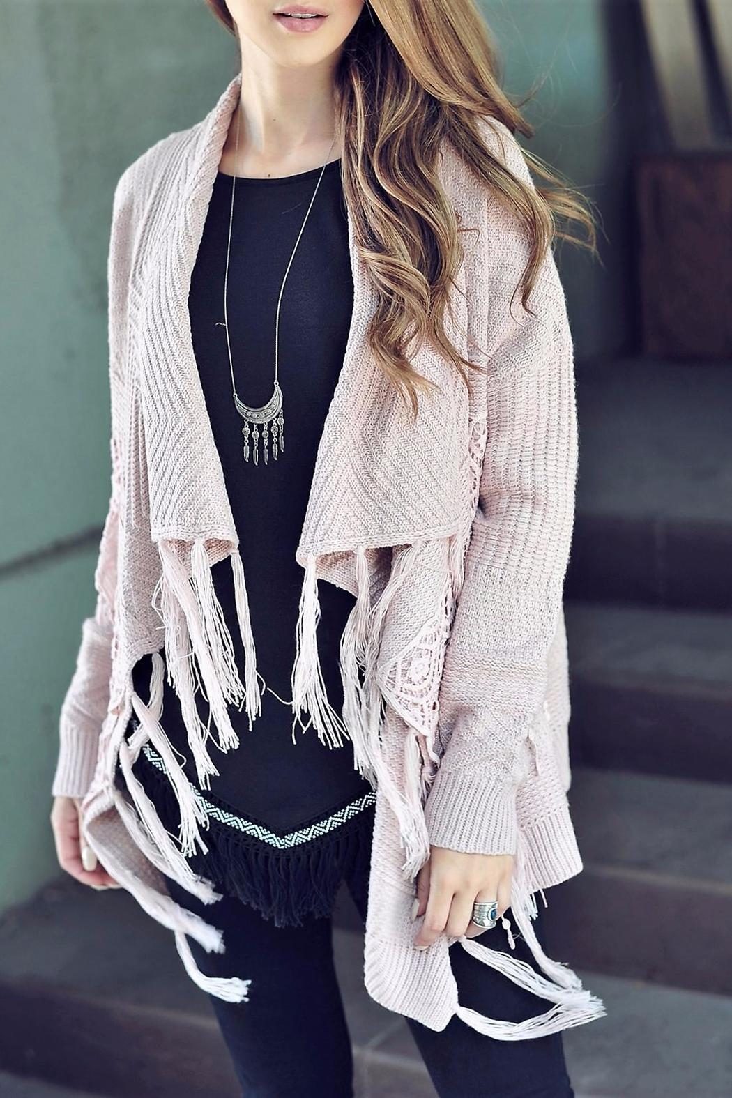 People Outfitter Lace Fringe Cardigan - Main Image