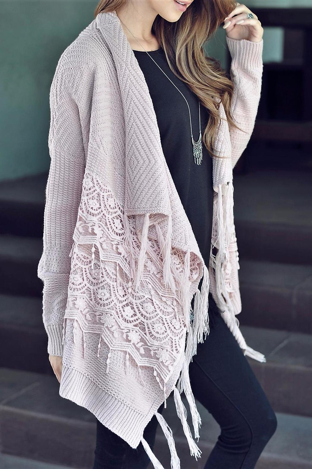 People Outfitter Lace Fringe Cardigan - Front Full Image