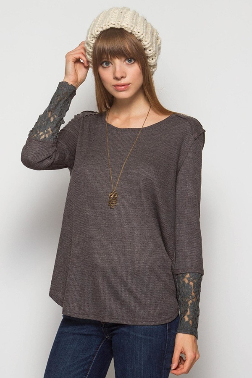 People Outfitter Lace Thermal Top - Main Image
