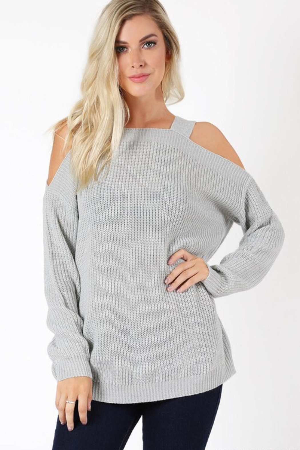 People Outfitter Light Grey Tunic Sweater - Main Image