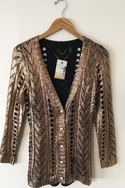 People Outfitter Metallic Foil  Knit Cardigan - Product Mini Image